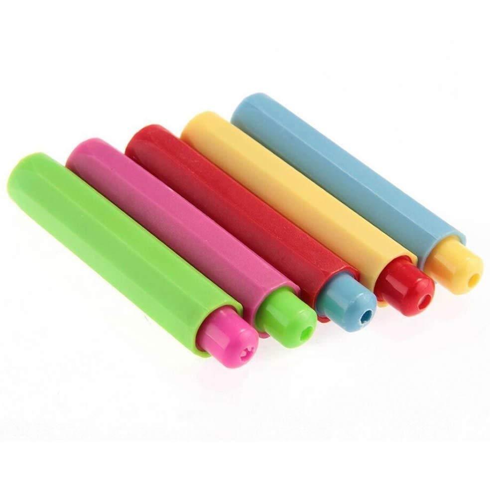 VEIREN 20 Pieces Chalk Holder Case Cover, Colored Plastic Blackboard Adjustable Chalk Clip (Chalk Not Included)