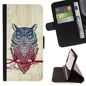 BullDog Case - FOR/Samsung Galaxy Note 4 IV / - / Cool Detailed Owl Pattern /- Monedero de cuero de la PU Llevar cubierta de la caja con el ID Credit Card Slots Flip funda de cuer