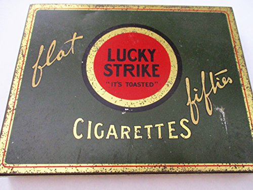 - Vintage Old Antique Cigarette Tin Lucky Strike Flat Fifties 50 Tobacco Tin Case