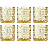 Set of Six Gold Mercury Glass Votive Candle Holders