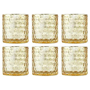 Christmas Tablescape Decor - Pretty gold antique style ripple mercury glass votive candle holders - Set of 6