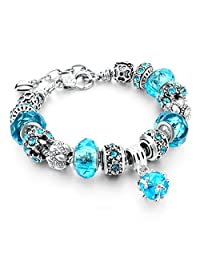 Capital Charms - Blue Crystal Ball - Silver Fashion Charm Bracelet with Charms for Girls and Ladies with a Velvet Drawstring Gift Bag
