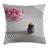Ambesonne Spa Throw Pillow Cushion Cover by, Japanese Zen Stones of Meditation Sand with Orchids Relax Yoga Spirit Picture, Decorative Square Accent Pillow Case, 18 X 18 Inches, Pearl Pink Dimgrey