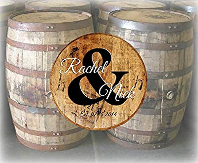 Rustic Home Decor Personalized Whiskey Barrel Lid Wedding Guestbook Est and Bar Sign Man Cave