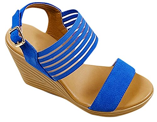 Womens Leather Stripe Platform High Heels Peep Toe Wedges Sandals Royal Blue dkRkmImN