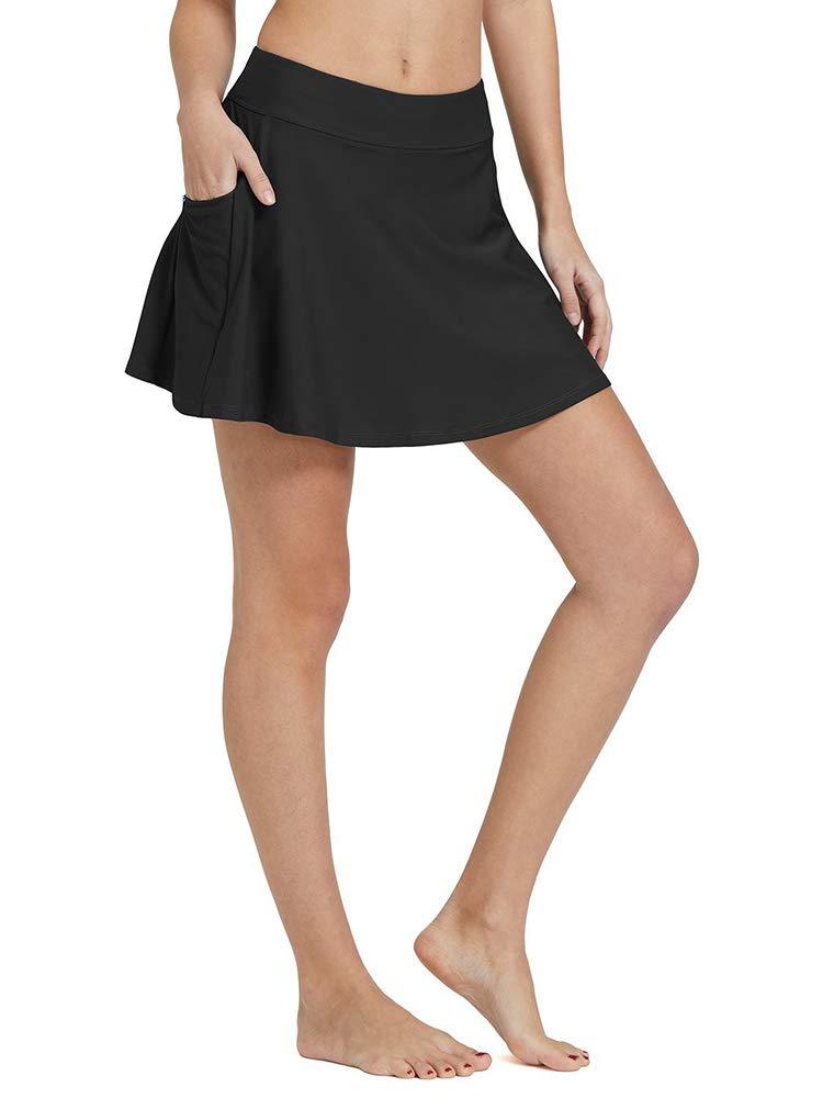 Women's High Waisted Swim Skirt Bikini Tankini Bottom with Side Pocket Black Size 2XL