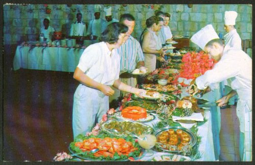 (Dining Half Moon Hotel Montego Bay Jamaica postcard 1960)