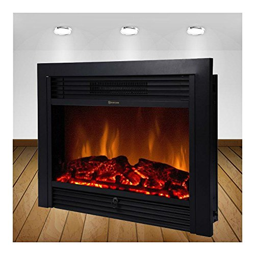 28.5″ Embedded Fireplace Electric Insert Heater Glass View Log Flame Remote Home For Sale