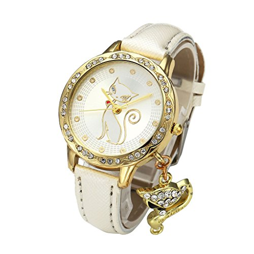 (Top Plaza Women Fashion Golden Rhinestone Case Cat Dial White PU Leather Band Quartz Wrist Watch with Cat Charm)