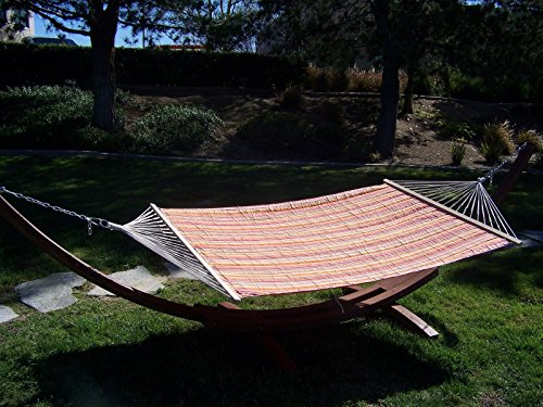 Petra Leisure 14 Ft. Water Treated Wooden Arc Hammock Stand + Premium Quilted, Double Padded Hammock Bed. 2 Person Bed. 450 LB Capacity (Coffee Bean Stain/Fiesta Stripe)