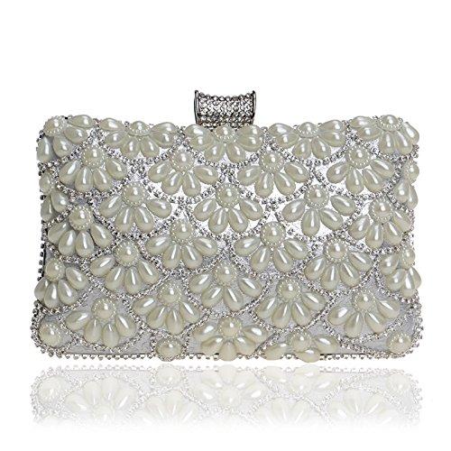Silver Hand WenL Ms Pearl WenL Shoulder Ms Bag Pearl Clutch WqYrYzTA