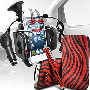 Nokia Lumia 900 Protección Premium de Zebra PU tracción Piel Tab Slip In Pouch Pocket Cordón piel cubierta de la caja de liberación rápida, de calidad premium en auriculares de botón estéreo de manos libres de auriculares Auriculares con micrófono Mic y botón de encendido y apagado, Grande Sylus Pen, 12v Micro Cargador y universal de la succión del coche del montaje del respiradero Carholder Rojo y Negro por Spyrox