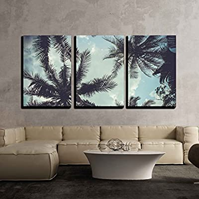 3 Piece Canvas Wall Art - Branches of Coconut Palms Under Blue Sky - Modern Home Art Stretched and Framed Ready to Hang - 16