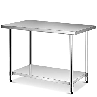 Amazon Com Giantex 48 X 30 Inches Nsf Stainless Steel Food Prep Table Heavy Duty Commercial Kitchen Metal Table With Adjustable Lower Shelf And Plastic Feet Steel Work Prep Table For Restaurant Home