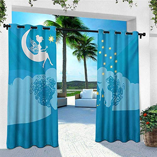 leinuoyi Girls, Sun Zero Outdoor Curtains, Magical Fairy Tale Princess Castle with Female Pixie Sitting on Crescent Moon Dreamy, Fabric by The Yard W96 x L96 Inch Blue White