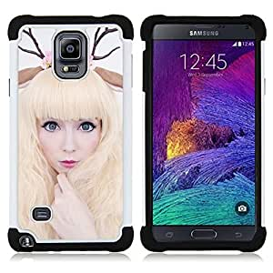 GIFT CHOICE / Defensor Cubierta de protección completa Flexible TPU Silicona + Duro PC Estuche protector Cáscara Funda Caso / Combo Case for Samsung Galaxy Note 4 SM-N910 // Horns Art Deer Woman Blonde Fairy White //