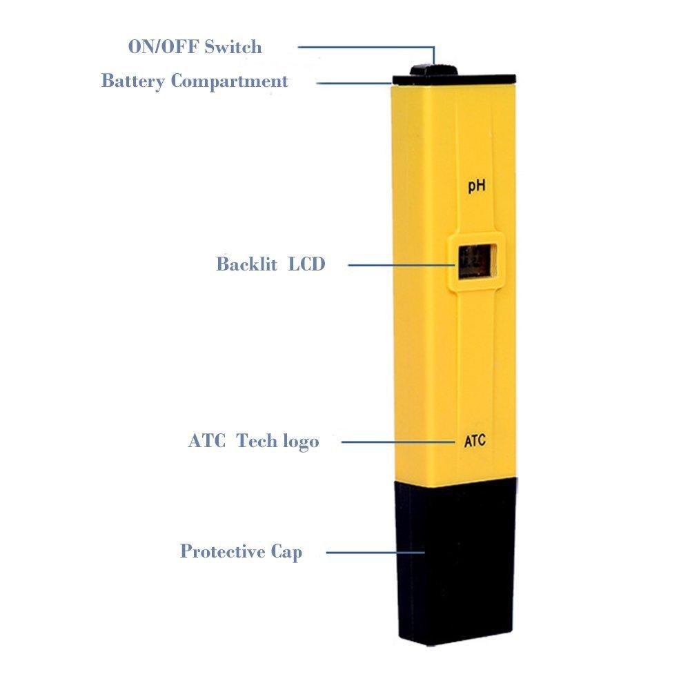 0,1 Aufl/ösung Webat ATC PH Tester Wasserqualit/ät Tester f/ür Trinkwasser Aquarien Hydroponics /± 0,1 pH-Genauigkeit Digitales pH-Meter Schwimmb/äder Messbereich f/ür 0-14 pH gelb