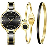 Ladies Quartz Watch Women bracelet set-MAMONA Gold Black Ceramic and Stainless Steel Watch Gift 3877LBKT
