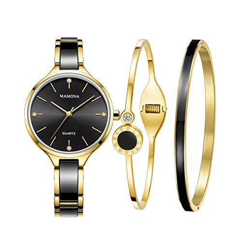 Ladies Quartz Watch Women bracelet set-MAMONA Gold Black Ceramic and Stainless Steel Watch Gift 3877LBKT