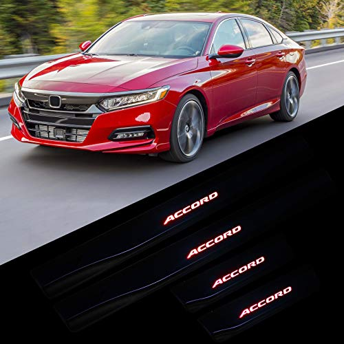 BSK 4Pcs New Door Sill Scuff Plate Welcome Pedal Illuminated LED Light Automotive Door Entry Guard Protector for Honda Accord 2018(for Accord/Red)
