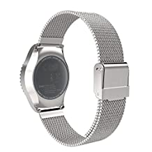 Universal 20mm Quick Release Watch Band, MoKo Mesh Stainless Steel Bracelet Replacement Strap for Samsung Gear S2 Classic/Motorola Moto 360 2nd Gen Men's 42mm/Ticwatch 2nd/Huawei Watch 2, Silver