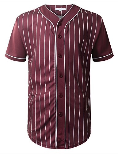 URBANCREWS Mens Hipster Hip Hop Striped Baseball Jersey T-Shirt Burgundy ()