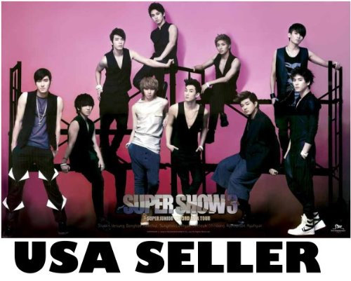 Super Junior Super Show 3 horiz Poster Korean boy band SuJu Superjunior sent From