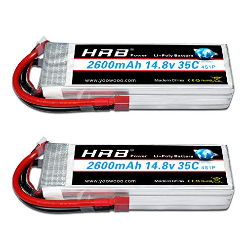 HRB 14.8V 2600Mah 4S Lipo Battery 35C with Deans T Plug for RC Quadcopter Airplane Car Truck Boat Hobby(2Packs)