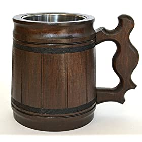 Handmade Beer – Mug Oak – Wood Stainless Steel – Cup Gift Natural – Eco-Friendly Wooden Tankard 0.3L 10oz Classic Brown