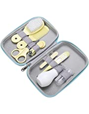Baby Care Kit, 8Pcs Convenient Healthcare Grooming Set Nail Clipper Manicure Safety Scissors Nose Cleaner Hair Brush Comb Essential Daily Care Bathing Tool for Toddler Infant (Yellow)