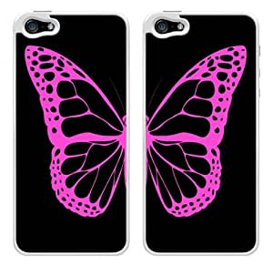 Black and Pink Butterfly Friendship Best Friends Snap-On Cover Hard Plastic Case Set for iPhone 5/5S - Set of 2 Cases (White) wangjiang maoyi