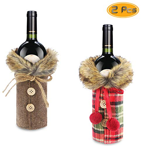 2 Set Of Christmas Sweater Wine Bottle Clothes, Oruuum Fur Collar & Button Coat Design Decorative Linen Bottle Sleeve Wine Bottle Sweater For Christmas Gifts Xmas Party Decorations