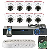 GW 8 CH 1080P Preview 720P Realtime (8) Varifocal Zoom IR Night Vision Dome Security Camera DVR System with Pre-Installed 2TB Hard Drive