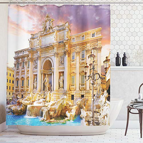 - Ambesonne Trevi Fountain Good Luck History of The World Art and Architecture Famous Landmarks of Italy Digital Print Polyester Fabric Shower Curtain, Coral Purple