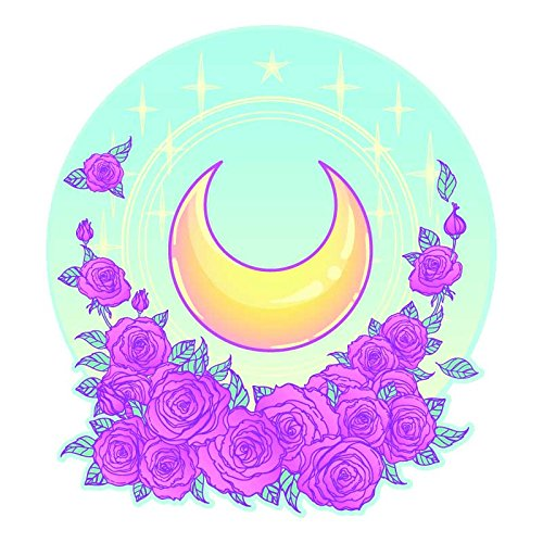 Pallypants Industries Moon Stars Roses - 5 Inch Full Color Vinyl Decal for Car, Automobile