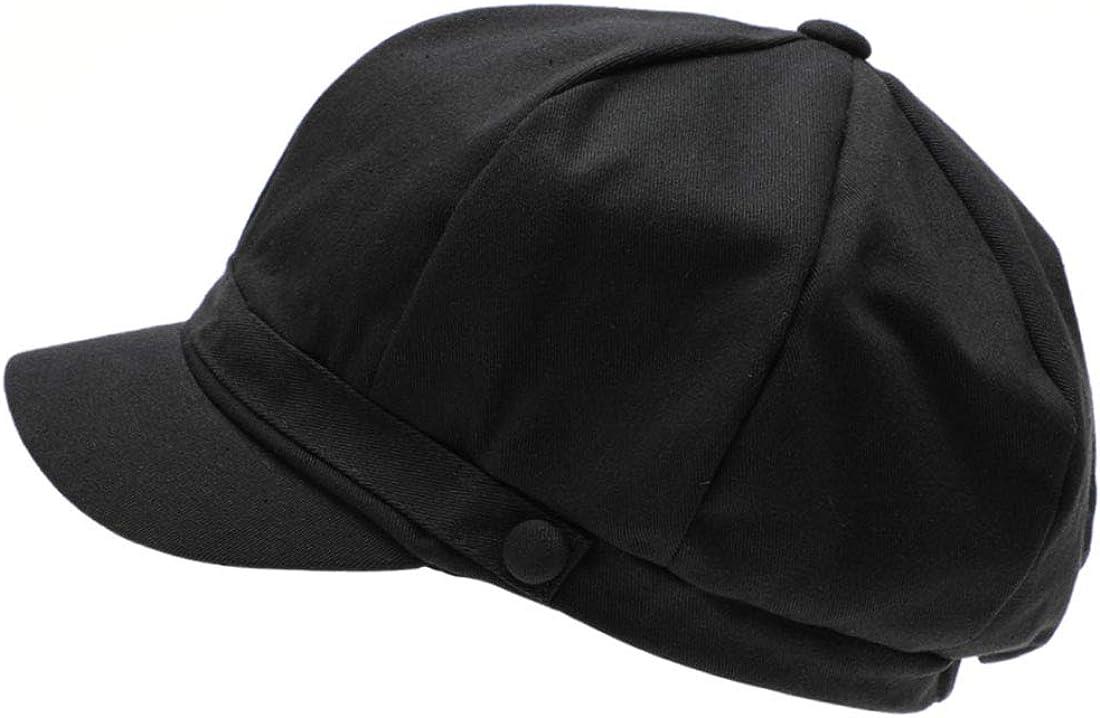 MIRMARU Women's Classic Solid Color Cotton Elastic Back Baker Newsboy Cabbie Cap Hat.