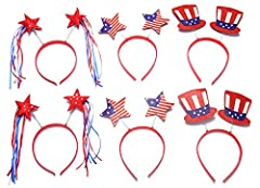 Celebrate your 4th of July or Memorial Day event with Uncle Sam hat and patriotic star boppers.  These adorable patriotic headbands are the perfect way to set the tone for silliness at your Fourth of July celebration, patriotic party, or ele...