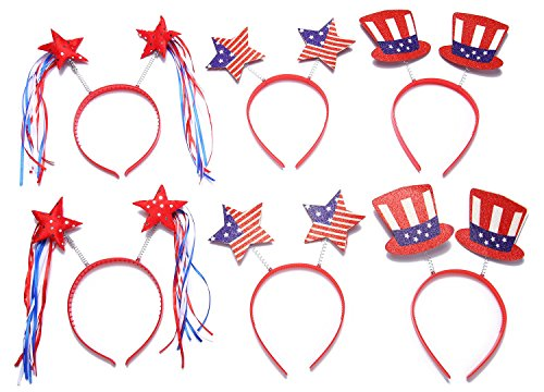 Moon Boat Patriotic Head Boppers Headband - Star/Uncle Sam Hat- Fourth/4th of July Party Accessories Favors Decorations ()