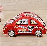 Goodscene Cartoon Piggy Bank Cartoon Car Piggy Bank Creative Tin Storage Box (Red)