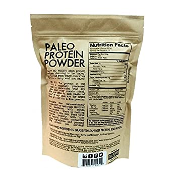 PaleoPro – Paleo Protein Powder – Gluten Free, no Dairy, no whey, no Soy, pastured Grass-fed Beef, no Added Hormones, Minimal Processing, Paleo Ingredients, Delicious Taste – 1lb 454g