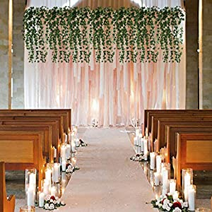 HO2NLE 6 Feet 4PCS Artificial English Ivy Leaves Greenery Garland Fake Hanging Plants Faux Foliage Garden Wall Stairway Party Wedding Outside Decorations 2