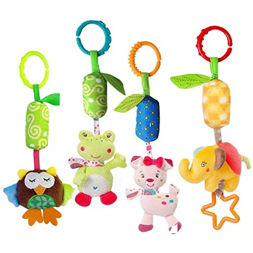 Easykan 4 Packs Baby Rattle Toy Kids Stroller Hanging Bell Puppet Handbells Baby Car Crib Stroller Toys Cute Wind Chime,Adorable Animal Car Seat Hanging Bell for Tag Along Travel (Tag Along Chimes)