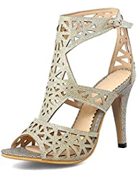 8ebec2d4ae1919 Women s Peep Toe Sandals - Stilettos Cutout Buckled - Sexy Ankle Wrap High  Heel