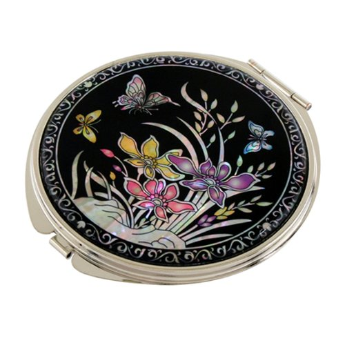 Mother of Pearl Yellow Purple Pink Orchid Flower Design Double Compact Magnifying Makeup Purse Mirror