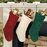 "Dailybella 14"" Christmas Knit Hanging Stockings Party Holiday Decorations, Pack of 3 (multicolor, Length 14"")"