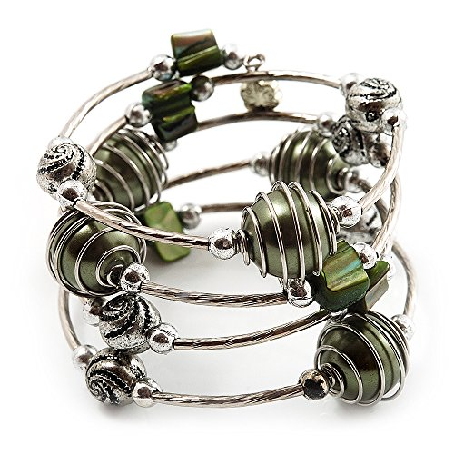 Avalaya Silver-Tone Beaded Multistrand Flex Bracelet (Olive Green)