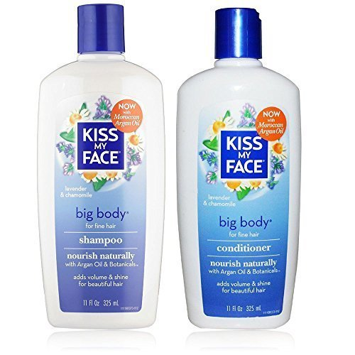 Face Kids Shampoo (Kiss My Face All Natural Organic Big Body Shampoo and Conditioner With Moroccan Argan Oil For Hair, Vitamin E, Sage, Lavender, Green Tea, Chamomile and Eucalyptus For All Hair Types, 11 fl. oz. each)