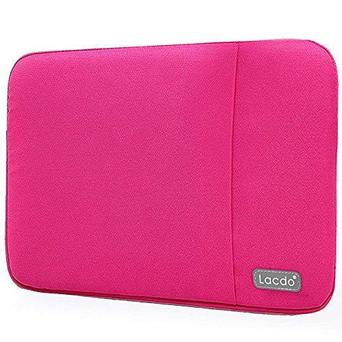 Lacdo 13 Inch Waterproof Fabric Laptop Sleeve Case Compatible Old MacBook Air 13 / MacBook Pro 13.3-Inch Retina 2012-2015/12.9 ipad Pro, HP Asus Acer Chromebook Ultrabook Notebook Bag, Rose