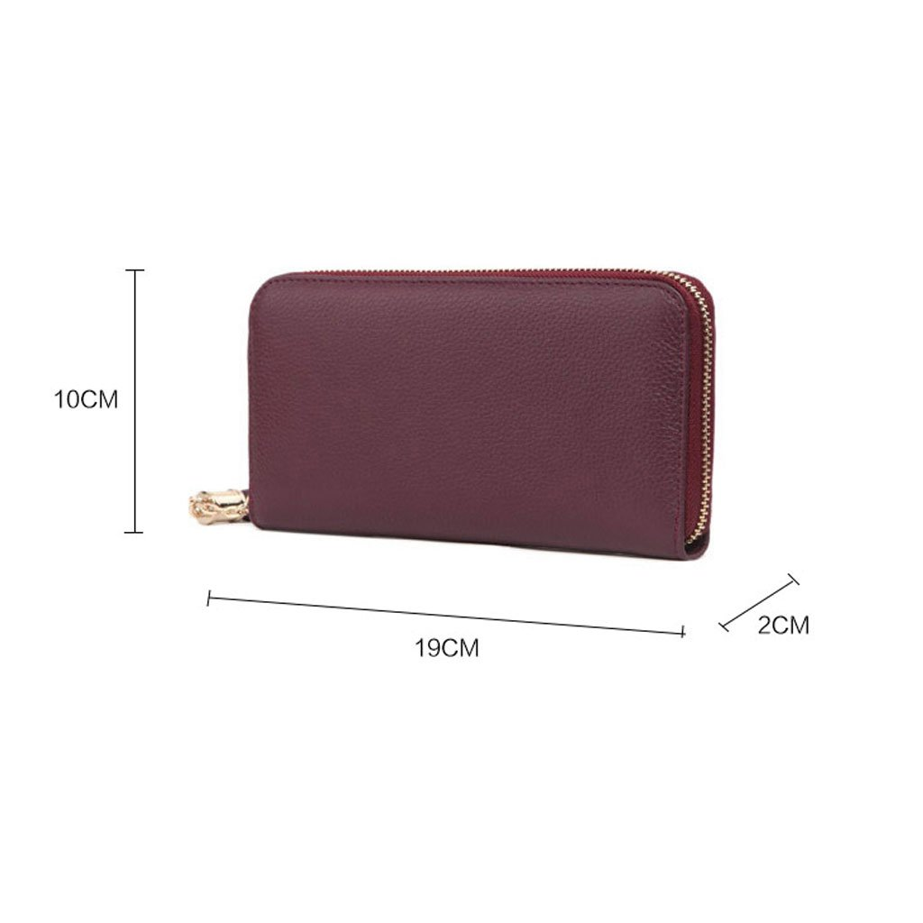 MADE4U Women's Genuine Leather Medium Size Simple Clutch Bags Wallet - Yellow 14080088014 by MADE4U (Image #4)