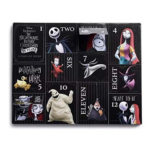 Disney unisex-adult's Nightmare Before Christmas 12 Days Advent Box, assorted, Fits Sock Size 9-11 Fits Shoe Size 4-10.5 (Girls/Womens) & Fits Shoe Size 4-9